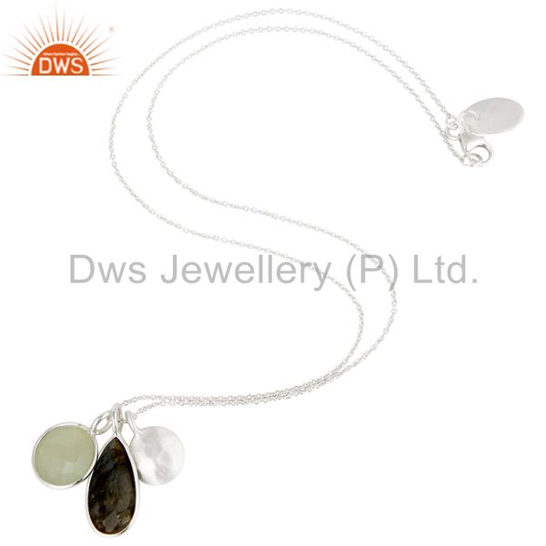 Suppliers Solid 925 Sterling Silver Chalcedony & Labradorite 3 Set Gemstone Chain Pendant