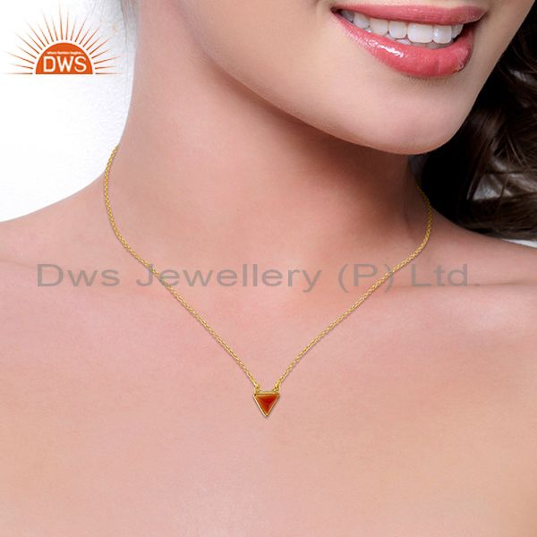 Suppliers Red Onyx Triangle Small Pendant,Trendy Pendent Gold Plated Silver Jewelry