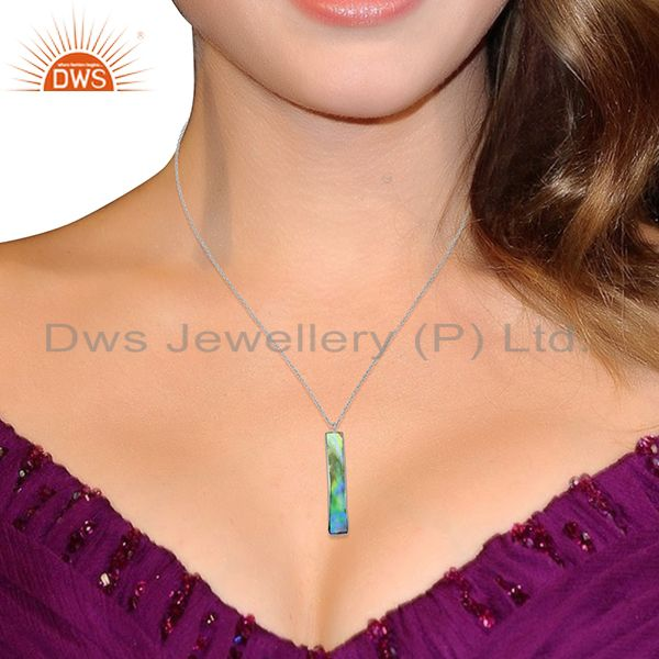 Suppliers Natural Abalone Shell Rectangle Sterling Silver White Rhodium Plated Pendants