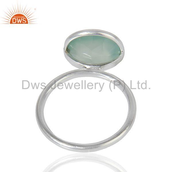 Suppliers Wholesale Sterling Fine Silver Aqua Chalcedony Gemstone Ring Jewelry