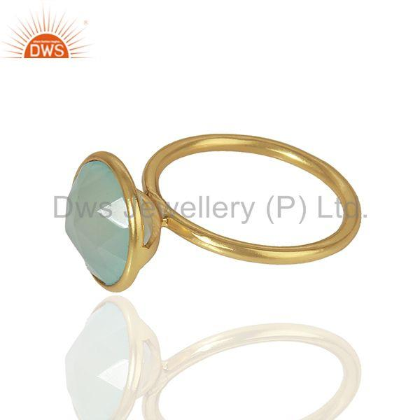 Suppliers Aqua Chalcedony Gold Plated 925 Sterling Silver Girls Ring Manufacture