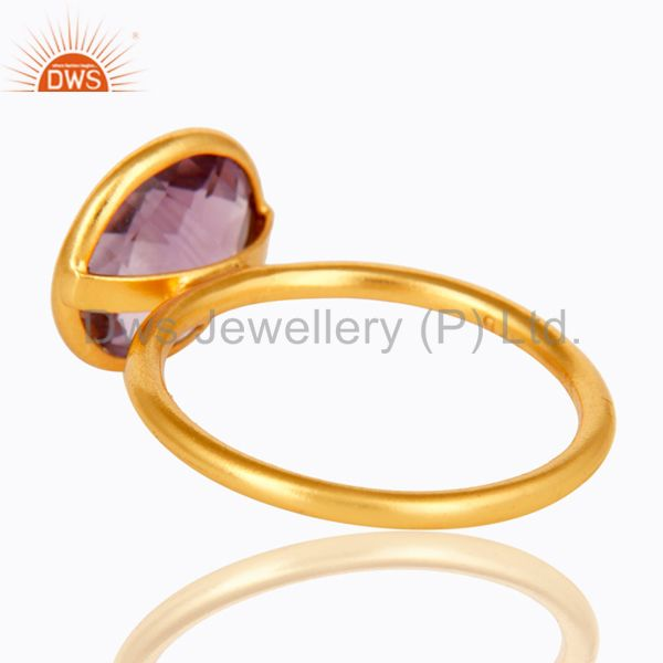 Suppliers 14K Yellow Gold Plated 925 Sterling Silver Round Cut Amethyst Stacking Ring