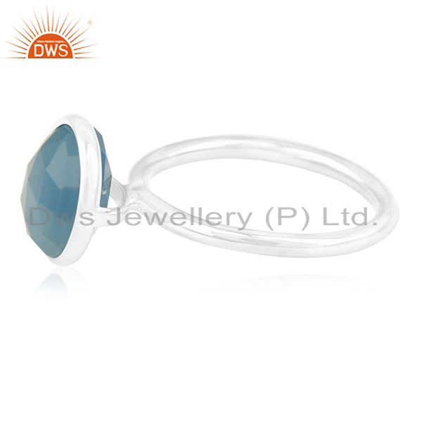Suppliers Blue Chalcedony Gemstone 925 Sterling Silver Rings Suppliers