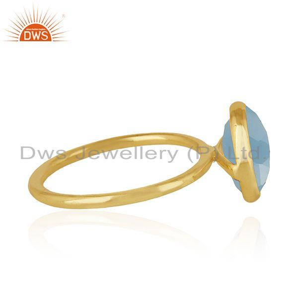 Suppliers Blue Chalcedony Gemstone 925 Silver Gold Plated Ring Manufacturer of Rings