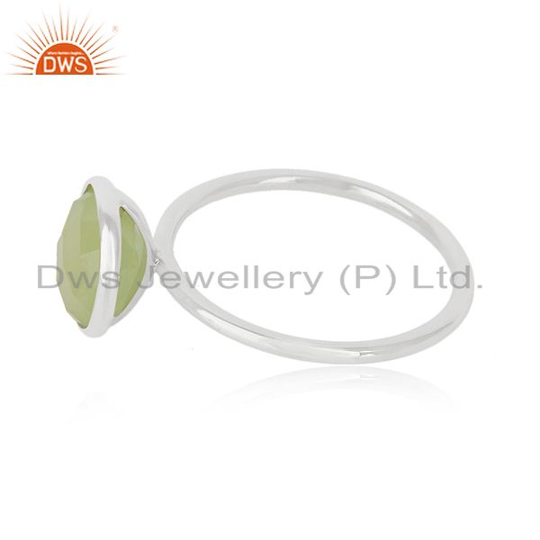 Suppliers Prehnite Chalcedony Gemstone 925 Sterling Silver Stackable Ring Manufacturer