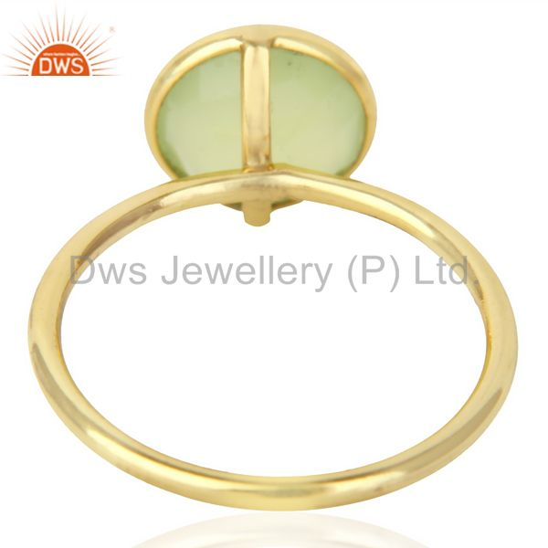 Suppliers 18K Gold Plated 925 Sterling Silver Dyed Chalcedony Gemstone Stacking Ring