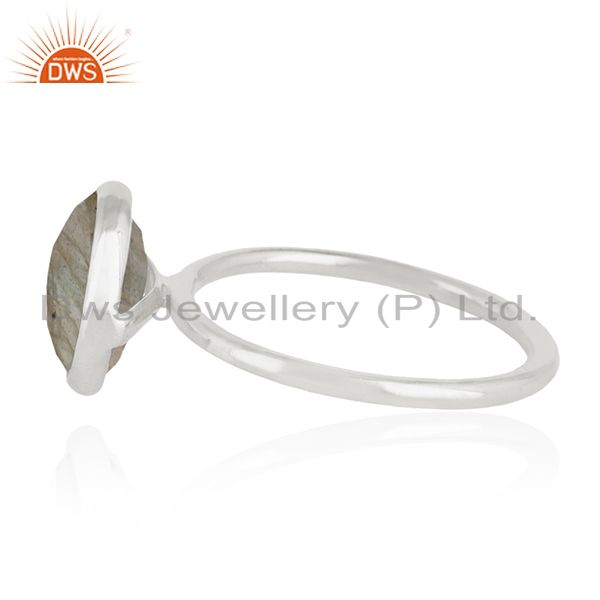 Suppliers 925 Sterling Silver Labradorite Gemstone Stackable Ring Manufacturer India