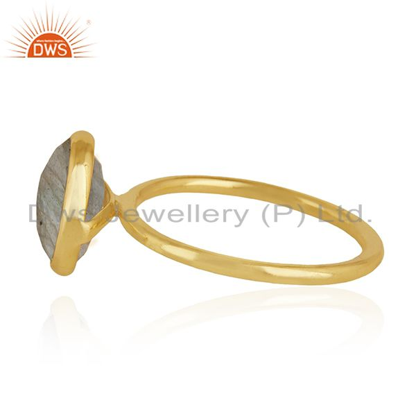 Suppliers Labradorite Gemstone 925 Sterling Silver Gold Plated Stackable Ring Manufacturer