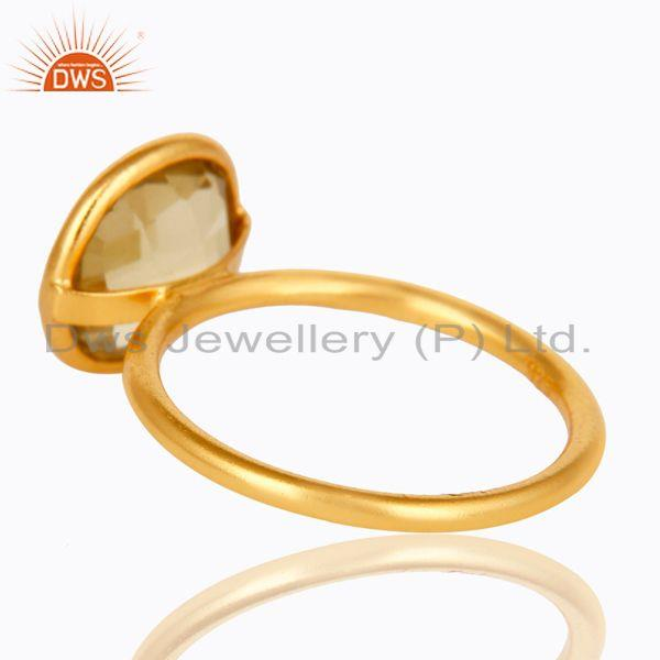 Suppliers 18K Yellow Gold Plated Sterling Silver Lemon Topaz Gemstone Stacking Ring
