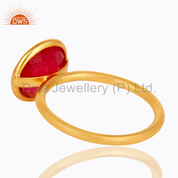 Suppliers 22K Yellow Gold Plated Sterling Silver Red Aventurine Gemstone Stacking Ring