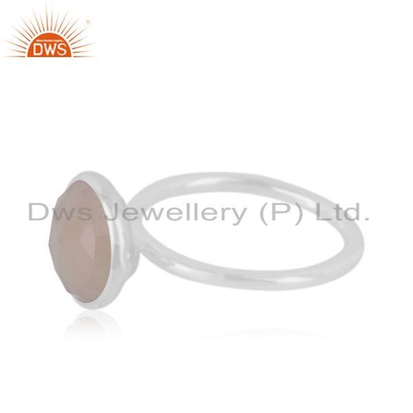 Suppliers Rose Chalcedony Gemstone 925 Fine Silver Bezel Set Ring Supplier