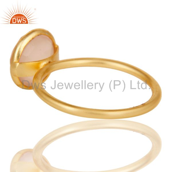 Suppliers 22K Yellow Gold Plated Sterling Silver Chalcedony Gemstone Stacking Ring