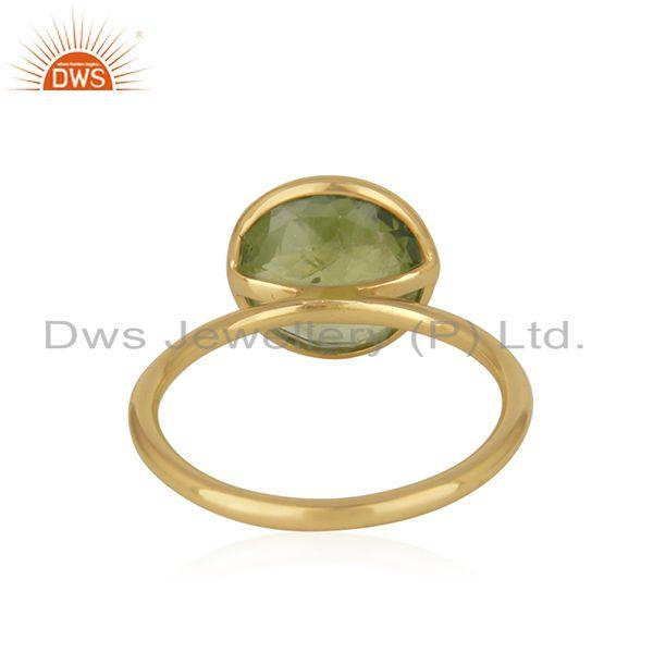 Suppliers Peridot Gemstone Gold Plated Sterling Silver Ring Manufacturer Jaipur