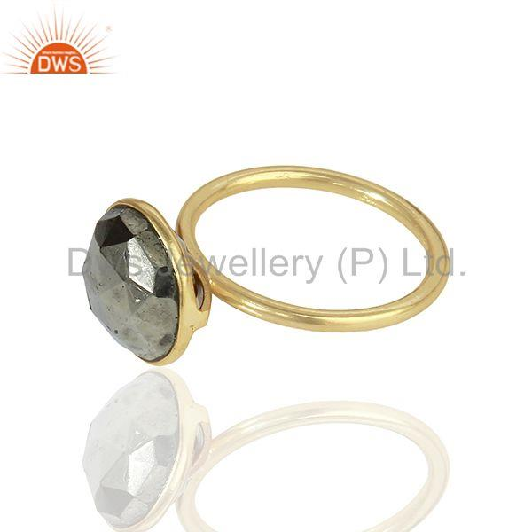 Suppliers Pyrite Gemstone Gold Plated Designer Girls Rings Jewelry Manufacturer