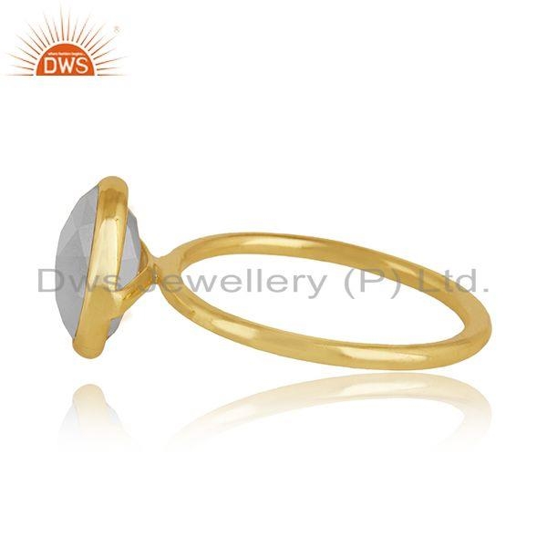 Suppliers Rainbow Moonstone Gemstone Gold Plated Silver Ring For Womens