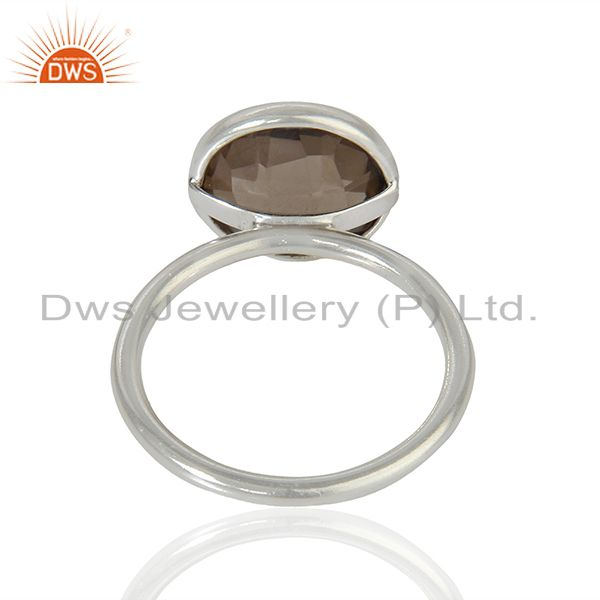 Suppliers 925 Sterling Fine Silver Smoky Quartz Gemstone Rings Jewelry Supplier