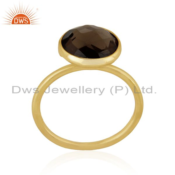 Suppliers Smoky Quartz 925 Sterling Silver Gold Plated Ring Manufacturer Wedding Jewelry