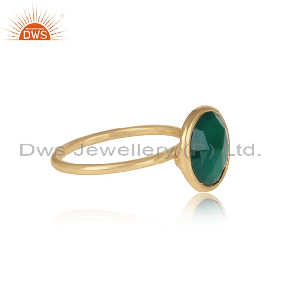 Suppliers Green Onyx Gemstone 925 Sterling Silver Gold Plated Stackable Ring Manufacturers