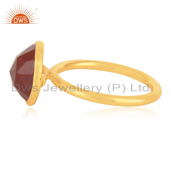 Suppliers Red Onyx Gemstone Gold Plated 925 Silver Ring Jewelry Manufacturer for Brands