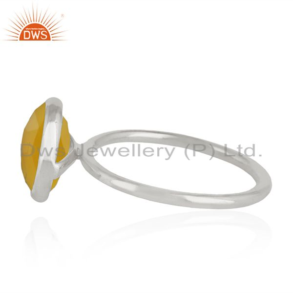 Suppliers Yellow Chalcedony Gemstone 925 Sterling Fine Silver Ring Manufacturer of Rings