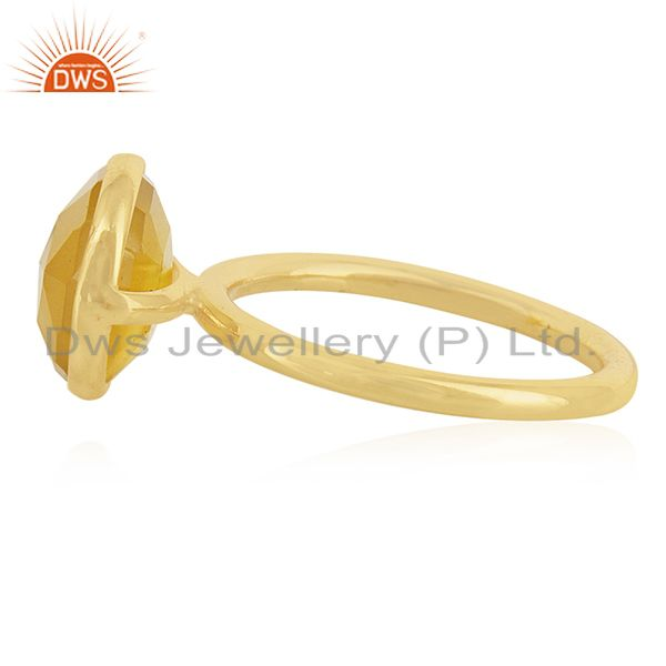 Suppliers Yellow Chalcedony Gemstone Gold Plated Sterling Silver Ring Manufacturers
