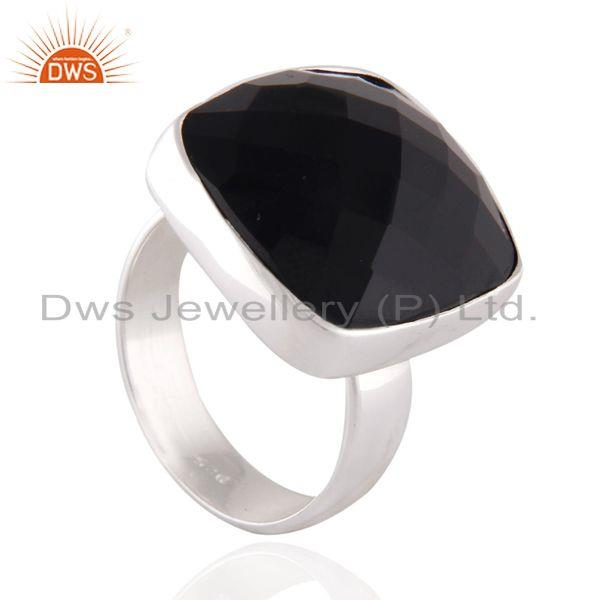 Designers Natural Checkerboard Gemstone Black Onyx 925 Sterling Silver High Polished Ring