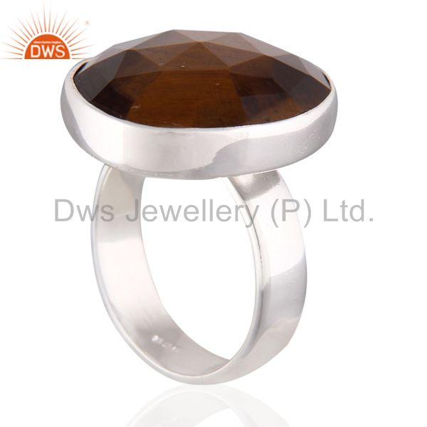 Suppliers Natural Tiger Eye Faceted Gemstone Solid 925 Sterling Silver Ring Size 7.5 us Je
