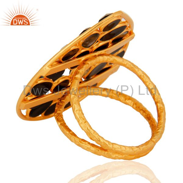 Suppliers Natural Black Onyx Gemstone Ring Set In 18K Yellow Gold Over Sterling Silver