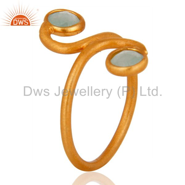 Suppliers 22K Yellow Gold Plated Over Sterling Silver Blue Aqua Aventurine Gemstone Ring
