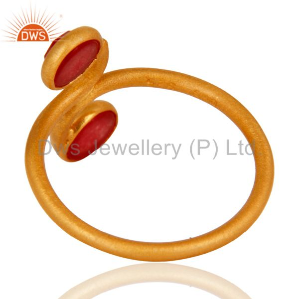 Suppliers New Arrival !925 Sterling Silver Red Aventurine Gemstone Ring With Gold Plated