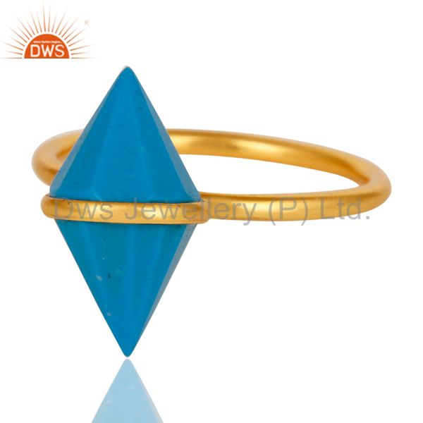 Suppliers 18K Gold Plated Sterling Silver Turquoise Spike Ring Statement Ring