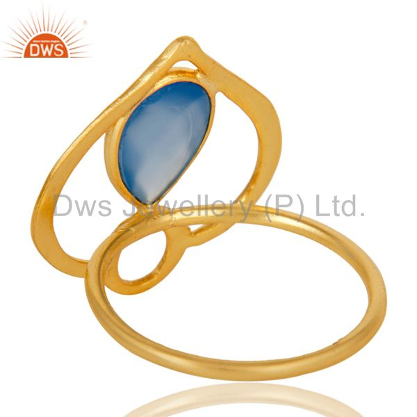 Suppliers 18K Gold Plated Sterling Silver Blue Chalcedony Art Deco Statement Ring