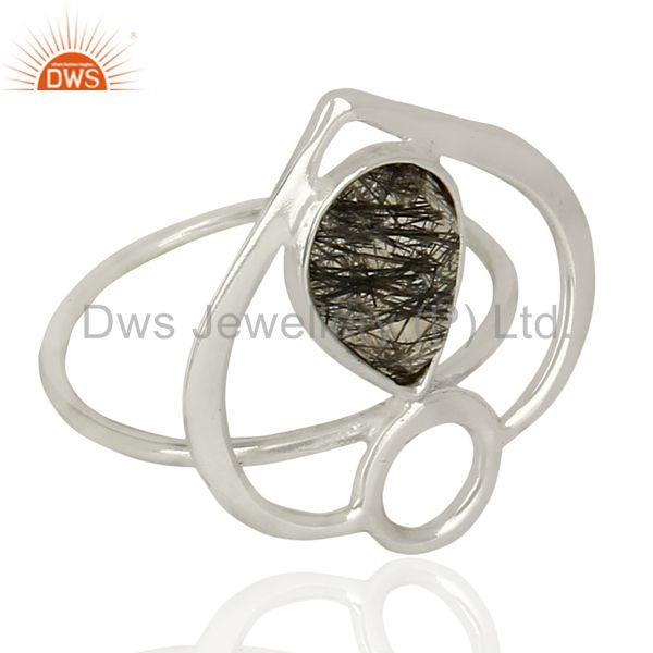 Suppliers Handmade Black Rutile Gemstone Sterling Fine Silver Fashion Ring