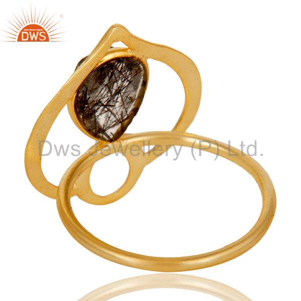 Suppliers 18K Gold Plated Sterling Silver Black Rutile Art Deco Statement Ring