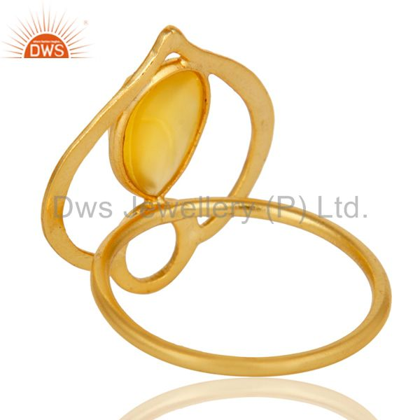 Suppliers 18K Gold Plated Sterling Silver Yellow Chalcedony Art Deco Statement Ring