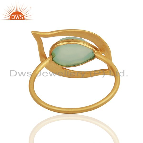 Suppliers Aqua Chalcedony Evil Eye Designer Gold Plated Sterling Silver Wholesale Ring