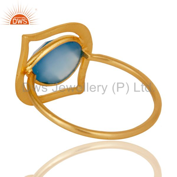 Suppliers Art Deco 18K Gold Plated Sterling Silver Blue Chalcedony Designer Ring