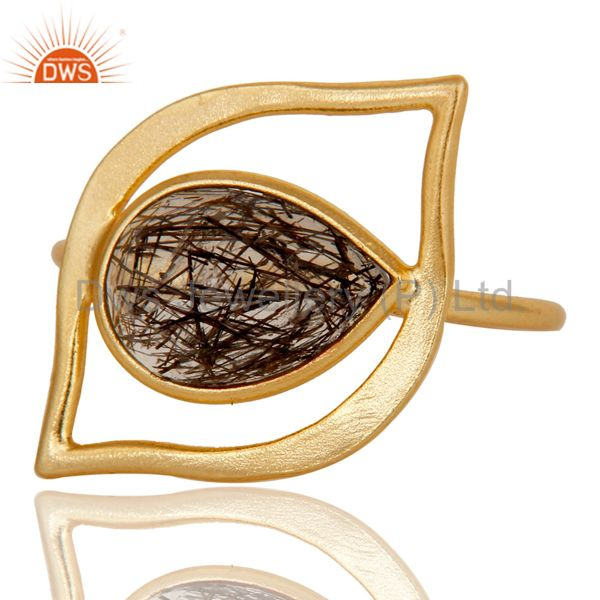 Suppliers Art Deco 18K Gold Plated Sterling Silver Black Rutile Designer Ring