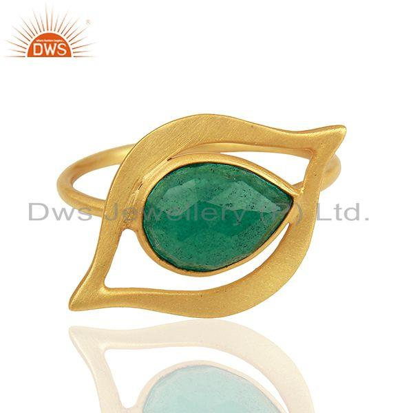 Suppliers Emerald Dyed Evil Eye Designer Gold Plated Sterling Silver Wholesale Ring