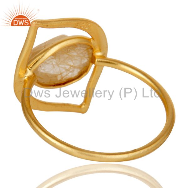Suppliers Art Deco 18K Gold Plated Sterling Silver Yellow Rutile Designer Ring