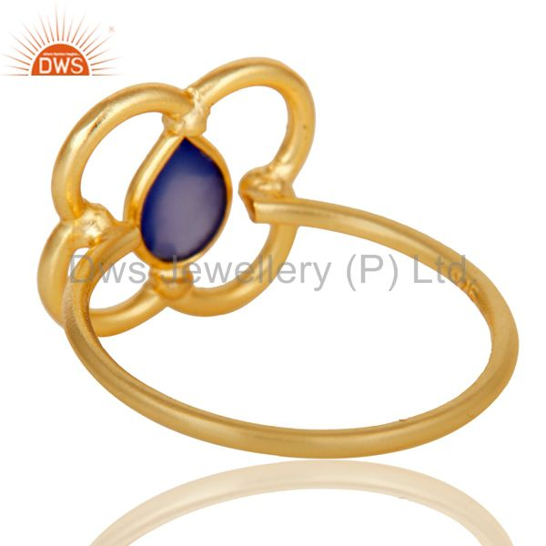 Suppliers Blue Chalcedony Art Deco 18K Gold Plated Sterling Silver Designer Ring