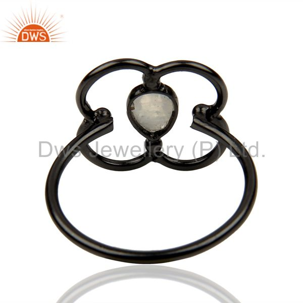 Suppliers Rainbow Moonstone Stackable Black Oxidized 925 Sterling Silver Ring Jewelry