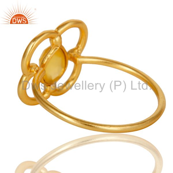 Suppliers Yellow Chalcedony Art Deco 18K Gold Plated Sterling Silver Designer Ring