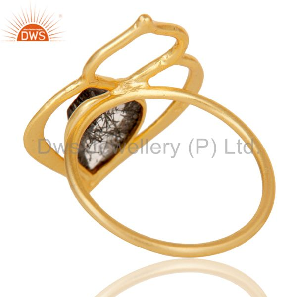 Suppliers Black Rutile 18K Gold Plated Sterling Silver Art Deco Style Designer Ring