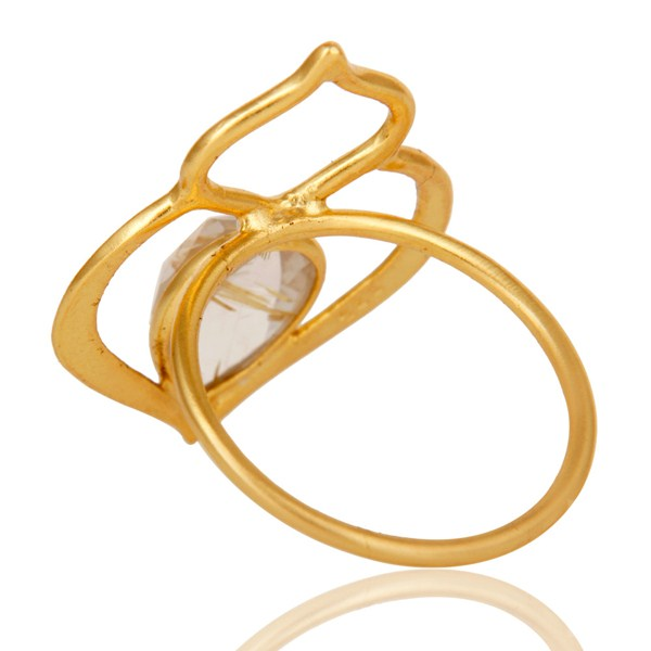 Suppliers Golden Rutile 18K Gold Plated Sterling Silver Art Deco Style Designer Ring