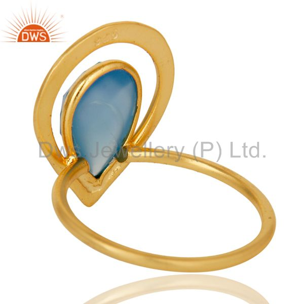 Suppliers 18K Gold Plated Blue Chalcedony Sterling Silver Art Deco Style Designer Ring