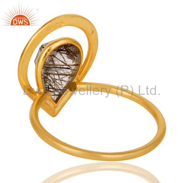 Suppliers 18K Gold Plated Tourmulated Quartz Sterling Silver Art Deco Style Designer Ring