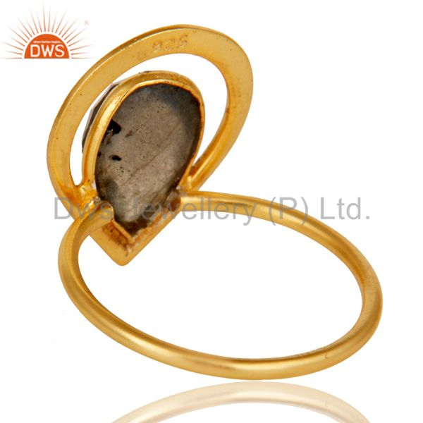 Suppliers 18K Gold Plated Labradorite Sterling Silver Art Deco Style Designer Ring