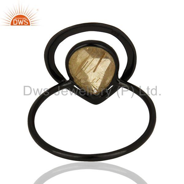 Suppliers Black Rhodium Plated Silver Rutile Gemstone Rings Manufacturer