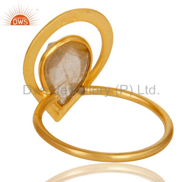 Suppliers 18K Gold Plated Rutilated Quartz Sterling Silver Art Deco Style Designer Ring